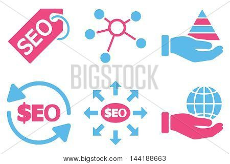 Seo Marketing vector icons. Pictogram style is bicolor pink and blue flat icons with rounded angles on a white background.