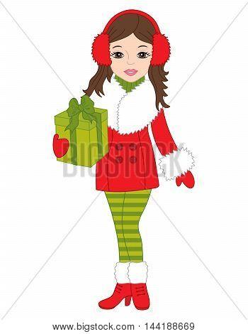 Vector Christmas character girl with gift box