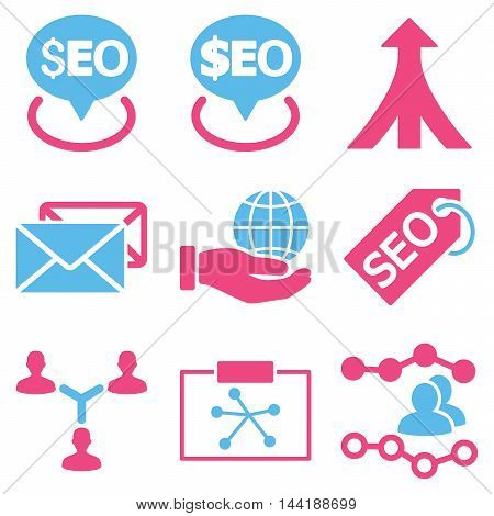 Seo vector icons. Pictogram style is bicolor pink and blue flat icons with rounded angles on a white background.