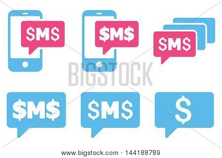 SMS Messages vector icons. Pictogram style is bicolor pink and blue flat icons with rounded angles on a white background.