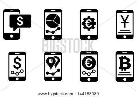 Mobile Sales Report vector icons. Pictogram style is black flat icons with rounded angles on a white background.