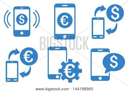 Mobile Banking vector icons. Pictogram style is cobalt flat icons with rounded angles on a white background.