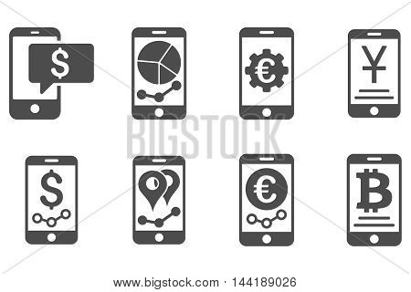Mobile Sales Report vector icons. Pictogram style is gray flat icons with rounded angles on a white background.
