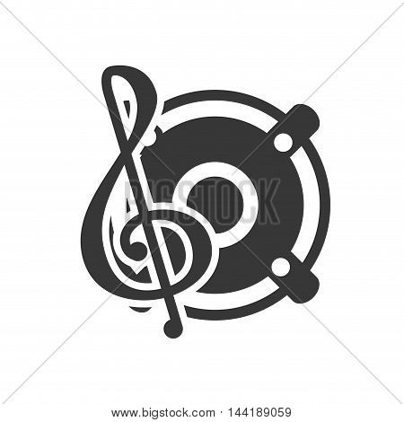 music dj party disco musical vinyl symbols icon vector illustration