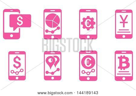 Mobile Sales Report vector icons. Pictogram style is pink flat icons with rounded angles on a white background.