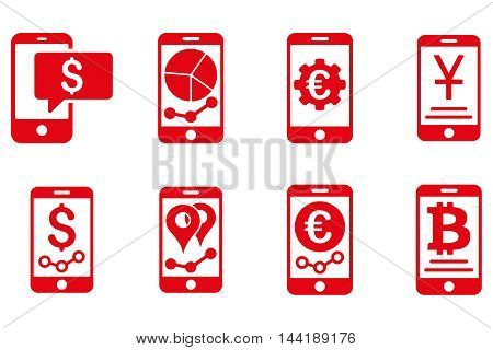 Mobile Sales Report vector icons. Pictogram style is red flat icons with rounded angles on a white background.