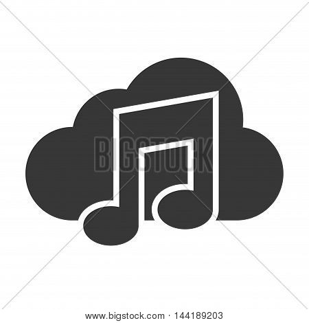 music cloud technology and electronic media files vector illustration