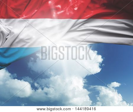 Luxembourg flag on a beautiful day