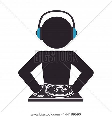 music dj avatar with turntables profession technology device