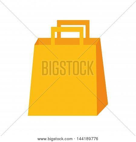 shopping yellow bag shopper handle vector illustration