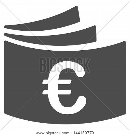 Euro Checkbook icon. Vector style is flat iconic symbol with rounded angles, gray color, white background.