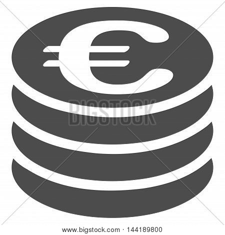 Euro Coin Stack icon. Vector style is flat iconic symbol with rounded angles, gray color, white background.