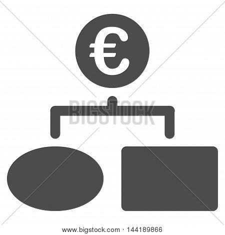 Euro Flow Chart icon. Vector style is flat iconic symbol with rounded angles, gray color, white background.
