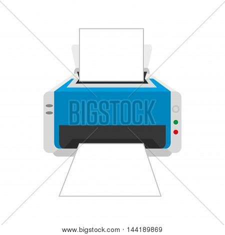 printer machine technology and electronic device vector illustration