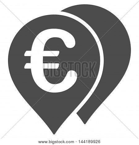 Euro Map Markers icon. Vector style is flat iconic symbol with rounded angles, gray color, white background.