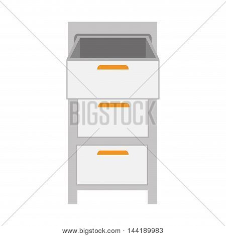 file cabinet office and desk furniture vector illustration