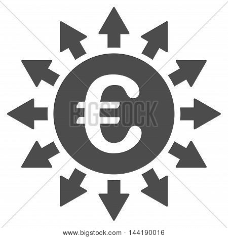 Euro Payments icon. Vector style is flat iconic symbol with rounded angles, gray color, white background.