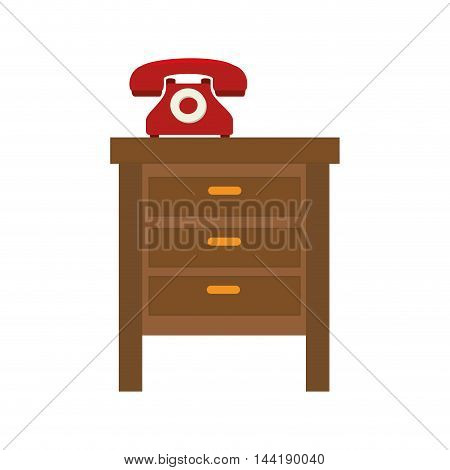 bedside table with retro telephone wood furniture vector illustration