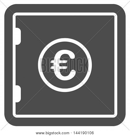 Euro Safe icon. Vector style is flat iconic symbol with rounded angles, gray color, white background.