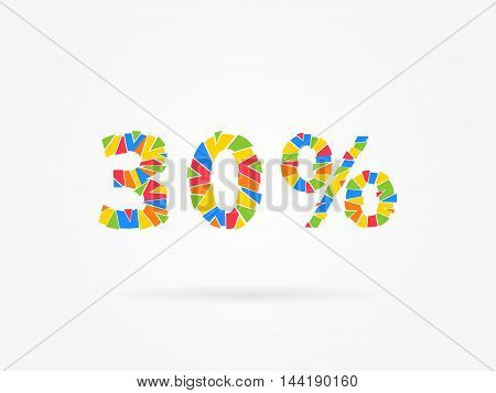 Discount 30 Percent Colorful Vector Illustration