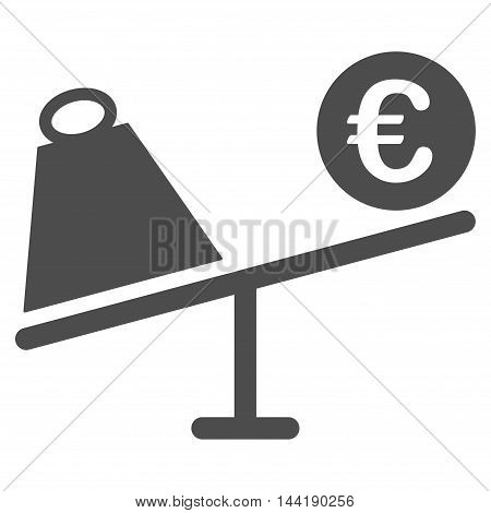 Euro Trade Swing icon. Vector style is flat iconic symbol with rounded angles, gray color, white background.