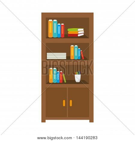 office furniture library bookshelf books furniture object vector illustration