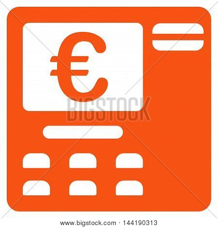 Euro Atm icon. Vector style is flat iconic symbol with rounded angles, orange color, white background.