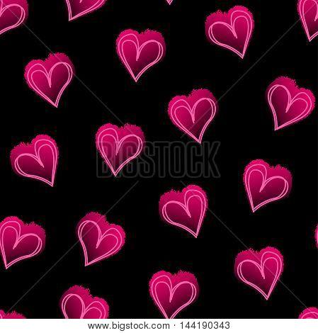 Pink love hearts on black seamless pattern .