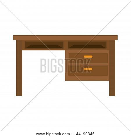 wooden desk home and office furniture item workplace vector illustration