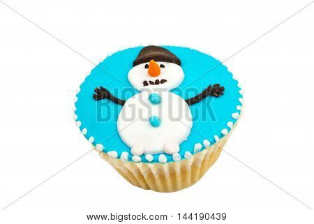 Christmas cupcakes decorating on a white background