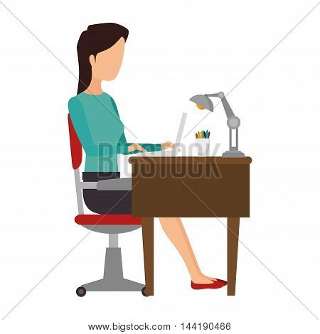 woman person working office and business place workplace furniture vector illustration
