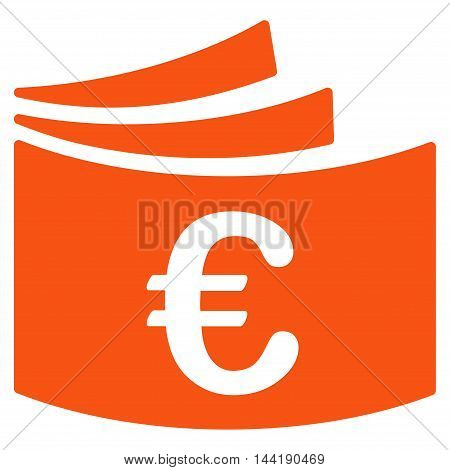 Euro Checkbook icon. Vector style is flat iconic symbol with rounded angles, orange color, white background.