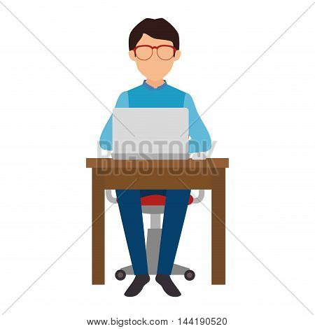 man person working office and business place workplace furniture vector illustration