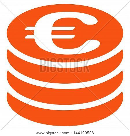 Euro Coin Stack icon. Vector style is flat iconic symbol with rounded angles, orange color, white background.