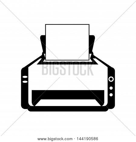 printer machine technology and electronic device silhouette vector illustration
