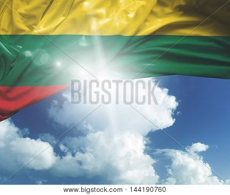 Lithuania flag on a beautiful day
