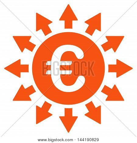 Euro Payments icon. Vector style is flat iconic symbol with rounded angles, orange color, white background.