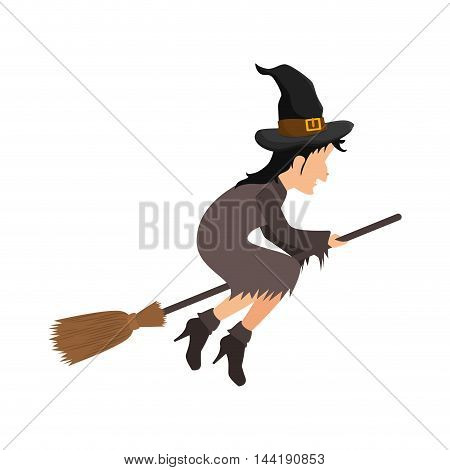 Witch flying with broomstick halloween cartoon vector illustration