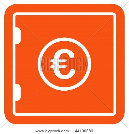 Euro Safe icon. Vector style is flat iconic symbol with rounded angles, orange color, white background.