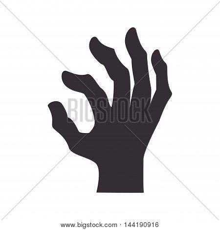 zombie hand happy halloween season vector illustration