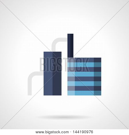 Abstract blue sign of building for industrial refinery. Facilities and architecture in industry. Plants and factories theme. Flat color style vector icon.