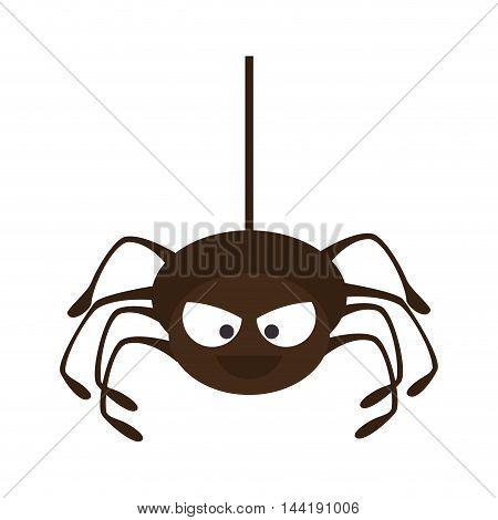 Spider in cobweb arachnida animal halloween cartoon vector illustration