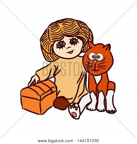 Vector illustration with the image of an orange cat and a redhead girls