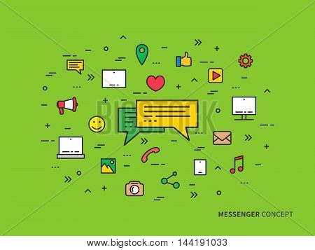 Messenger Chat Communication Colorful Linear Vector Illustration