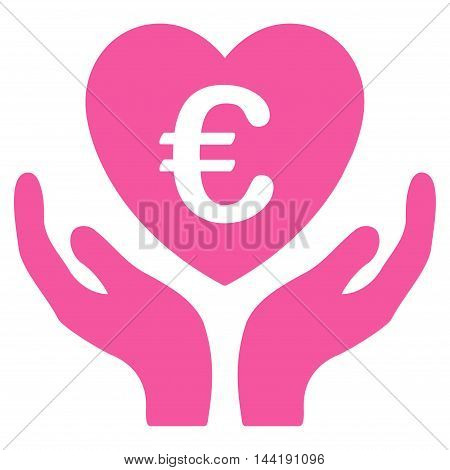 Euro Care Hands icon. Vector style is flat iconic symbol with rounded angles, pink color, white background.