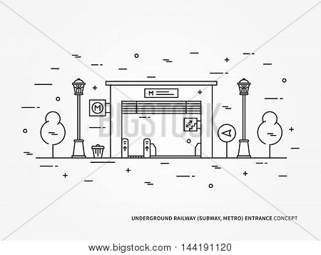 Subway Railroad, Underground Railway Entrance Station Gate Linear Vector Illustration