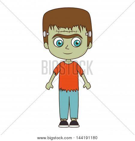 cute kid in a green zombie monster costume halloween season vector illustration