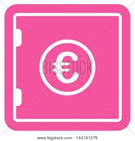 Euro Safe icon. Vector style is flat iconic symbol with rounded angles, pink color, white background.