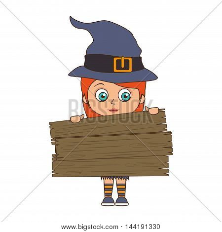 cute girl kid in a witch costume halloween season vector illustration