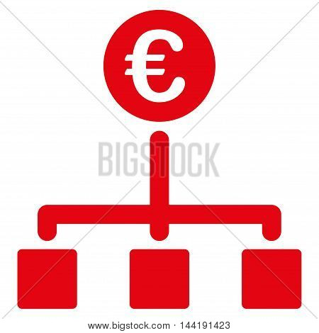 Euro Cash Flow icon. Vector style is flat iconic symbol with rounded angles, red color, white background.